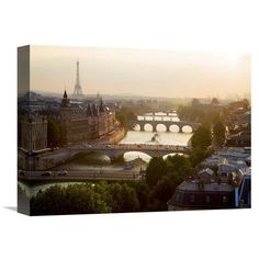 "Global Gallery 'Bridges over the Seine River, Paris' by Michel Setboun Photographic Print on Wrapped Canvas Size: 12"" H x 16"" W x 1.5"" D"