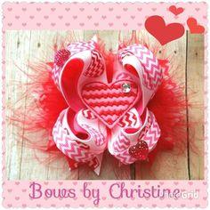 Chev heart bow