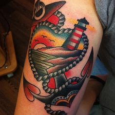 tattoo old school / traditional nautic ink - lighthouse, sunset and anchor