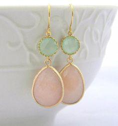 mint and peach wedding invitations | ... Wedding Earrings-Dangle Earrings-Peach Mint Jewelry Gift #2259832