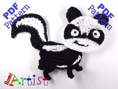 Skunk Crochet Applique Pattern