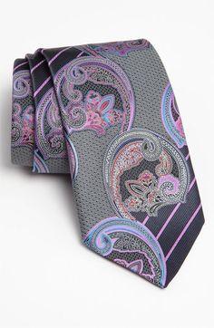 Ermenegildo Zegna 'Quindici' Print Silk Tie- this would look good on jay Sharp Dressed Man, Well Dressed Men, Tie And Pocket Square, Pocket Squares, Paisley Tie, Cool Ties, Suit And Tie, Men Looks, Silk Ties