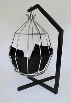 Retro 1970s Hanging Birdcage Chair by Ib Arberg, Arbre Designs Parrot Chair | From a unique collection of antique and modern lounge chairs at https://www.1stdibs.com/furniture/seating/lounge-chairs/