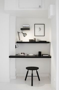 black and white home office, nook, shelves Office Nook, Office Workspace, Small Workspace, Desk Nook, Office Spaces, Closet Office, Corner Office, Closet Nook, Office Bookshelves