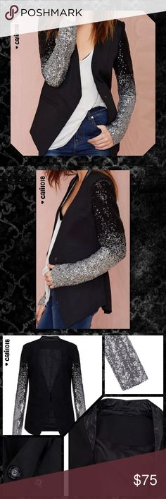 SOLD OUT ON ORDER 🆕Black Ombre Sequin ITS BACK!! 5 ⭐️ Jacket!!! New Black and Silver Ombre Sleeve Leather Collar Blazer Jacket  Wash low temperature, Do not Bleach More of high quality material,endurable and antiwear Color: Black with Silver Ombre Style Sequin Material: Polyester Tag Size XXL(10-12), XXXL(14-16) Package includes: 1 Jacket This jacket is great quality and truly a piece of fashion art that will remain timeless in your collect.  💠💠PRICE FIRM UNLESS BUNDLED💠💠 🌺🌺LOWBALL…