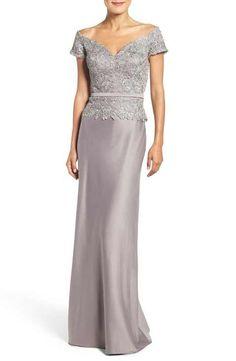 La Femme Off the Shoulder Mock Two-Piece Gown