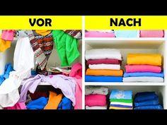 20 space-saving ideas for folding clothes, Wardrobe Organisation, Small Closet Organization, Organization Hacks, Storage Hacks, Diy Storage, Storage Ideas, Konmari, Diy Rangement, Diy Wardrobe