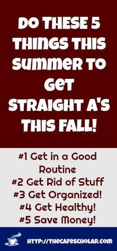 Do these 5 things this summer to get straight A's this fall!  Study Smarter.