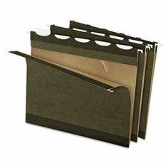 Pendaflex Ready-Tab Reinforced Hanging Folders, 1/5 Tab, Letter, Stnd Green, 25/Box (PFX42590)
