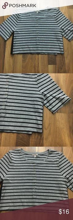 Gap Women's Size Large Striped Crop Button Top This top is up for sale! Good condition! Cute!  ❤ Grey and Navy ❤ button down, but not all the way ❤ Crop - not full length, stretch  ❤ Size Measured in Pictures  ✅ Bundle up and save ✅ 🎉 Pair with our jewelry or purses 🎉 GAP Tops Crop Tops