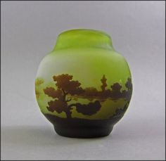 Galle Cameo Vase with Scenic Waterway