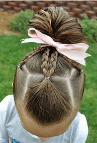 Plaits in to a tucked under bun.
