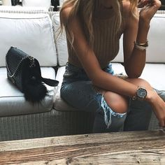chanel boy + high waist jeans ☼ ☾