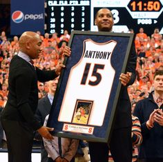 Congratulations to Carmelo Anthony whose No. 15 Syracuse jersey was retired during halftime of its game against Georgetown on Saturday in the Carrier Dome. A sellout crowd of 35,012, the largest to see a college basketball game in an on-campus arena, watched a large replica of Anthony' jersey get unveiled in the rafters. The New York Knicks star was presented a framed jersey at center court.