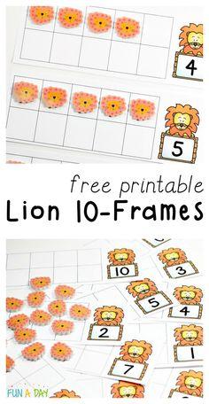 """In Like a Lion"" Printable Ten Frames for Preschool - Fun-A-Day!"