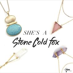 """""""Rock"""" out with our new, natural stone necklaces in one of the hottest trends of the season! SHOP: http://bit.ly/1HkPUz4 #justjewelry #jewelry #quartz #amethyst #naturalstone #turquoise #fashiontrend #new #necklaces"""