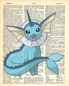 Vaporeon Pokemon Dictionary Art Print by MollyMuffinsPrints