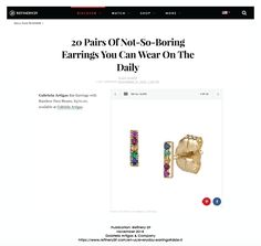 Our Bar Earrings with Rainbow Pave have been selected by Refinery 29 as a great pair of earrings that you can wear everyday Refinery 29, Earring Trends, Bar Earrings, Line Design, Rainbow, Pairs, Canning, How To Wear, Shopping