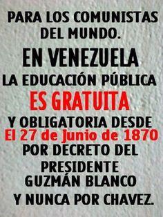 Gobierno chavista ignorante: la educación es gratuita en Venezuela desde el primer gobierno de Guzmán Blanco (1870)