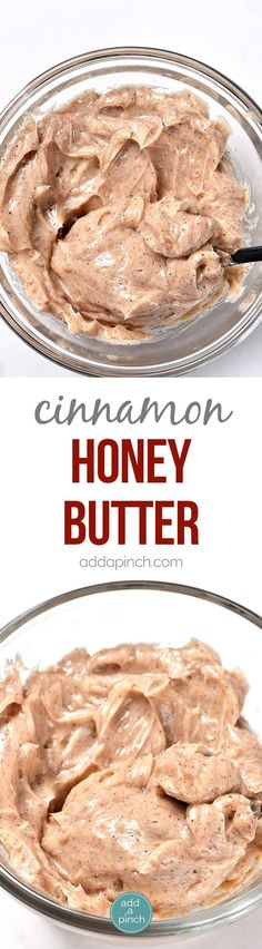 Cinnamon honey butter makes a delicious addition to so many dishes. From sweet potatoes to a bowl of oatmeal, this cinnamon honey butter compound will be a favorite! from addapinch Flavored Butter, Homemade Butter, Butter Recipe, Whipped Butter, Vegan Butter, Thanksgiving Recipes, Holiday Recipes, Thanksgiving Side Dishes, Cinnamon Honey Butter
