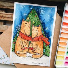 1,711 отметок «Нравится», 34 комментариев — ◽️Tania Samoshkina◽️ (@samoshkina_art) в Instagram: «Пока праздники бегут нам навстречу, я рисую подарочки. Иллюстрация с новогодними лисами на заказ.…»