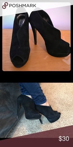 Steve Madden Black suede ankle booties Some wear around the heel from stabbing the grass but if you know how to clean suede there's no other problems or imperfections Steve Madden Shoes Ankle Boots & Booties