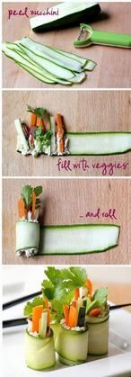 """Since sushi is the go yo food of college and university students. This seems like a good way to get in your veggies. Roll up your salad into raw zucchini """"sushi"""" rolls. Fresh and delicious! Snacks Für Party, Appetizers For Party, Appetizer Recipes, Sushi Party, Appetizer Ideas, Healthy Appetizers, Delicious Appetizers, Healthy Party Foods, Party Fingerfood"""