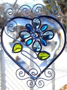 JasGlassArt - Original Designs in Stained Glass: Beveled Glass Heart Suncatcher with Glass Jewels