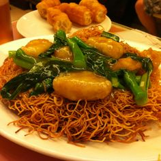Fried noodles at a local tea restaurant