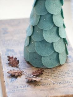 felt pine tree in foam cone