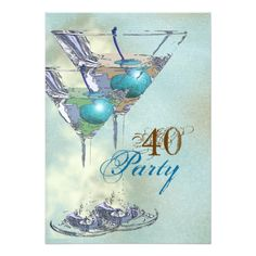 40th birthday elegant blue brown card