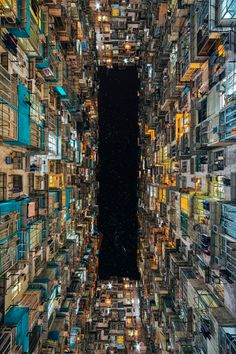Looking up through the courtyard of a residential apartment block in Quarry Bay, Hong Kong Photo by Peter Stewart