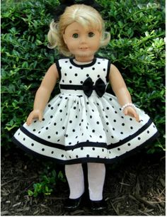 18 Inch Doll Clothing for American Girl Dolls - Vintage White and Black Polka… Sewing Doll Clothes, Baby Doll Clothes, Sewing Dolls, Doll Clothes Patterns, Doll Patterns, My American Girl Doll, American Doll Clothes, Girl Dolls, Ag Dolls