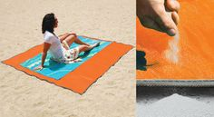 Sandless Beach Mat -2 layers of what is called rip-stop woven polyurethane. The top side will drop the sand right through to the bottom of the mat, while the other side keeps the sand from sticking to the mat in the first place. All four corners have metal D-rings attached, so you can stake your mat down to keep it from blowing away should a strong gust of wind come up. It can also keep dust, dirt and water off easily. The polyurethane is non-absorbent.