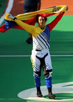 bronze medalist Stefany Hernandez of Venezuela on the podium after the Women's BMX Final on day 14 of the Rio 2016 Olympic Games at the Olympic BMX Centre on August 19, 2016 in Rio de Janeiro, Brazil.
