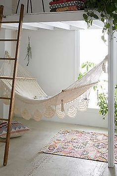 Macrame Hammock Hanging Chair Swing Boho Patio Porch Outdoor Indoor Lounging New