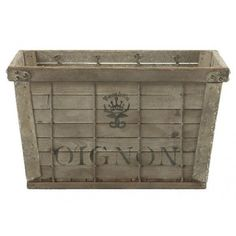 Aidan Gray Industrial Crates with French (300 CAD) ❤ liked on Polyvore featuring home, home decor, small item storage, industrial and aidan gray
