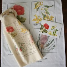 Flora of Australia bag, tea towel and card set