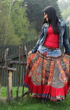 Gypsy folk skirt by jamfashion on Etsy, $89.00