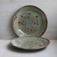 Two Dinner Plates Pair of Handmade Ceramic Dishes por sheilasart, $70.00