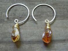 Spring Jewelry Sale rough citrine hoop earrings, november birthstone earrings, rustic amethyst hoop earrings, February birthstone earrings on Etsy, $26.60