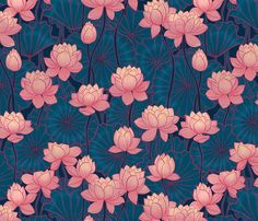 Pink Lotus Water Lily Fabric - Pink Lotus Dark Background By Torysevas - Water Lily Lotus Flowers Cotton Fabric By The Yard With Spoonflower Pichwai Paintings, Indian Art Paintings, Namaste Art, Lotus Art, Indian Folk Art, Flowers Nature, Lotus Flowers, Cool Sketches, Flower Market