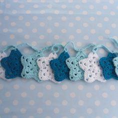 Blue Crochet Star Garland - Folksy