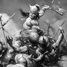 Conan, the Destroyer; drawn by Frank Frazetta, Conan O Barbaro, Conan The Destroyer, Jordi Bernet, Bild Tattoos, Frank Frazetta, Conan The Barbarian, Sword And Sorcery, Wow Art, Fantasy Warrior