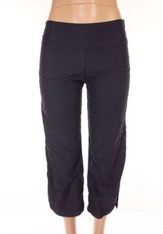 LULULEMON Vtg Crops Size 6 S Slim Fit Black Retro Pants Mesh Lined Velcro Rare! #Lululemon #PantsTightsLeggings