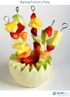 This is a guide about serving fruit at a party. Fruit is a delicious healthy food to serve at a party. There are many creative ways you can arrange fresh fruit for serving.