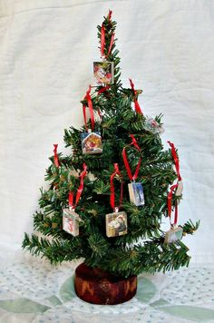 Miniature Christmas Tree With Vintage Image Scrabble Tile Ornaments