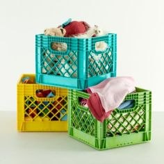 This is a good idea! We already have the milk crates, just need to paint them.