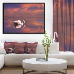Designart 'Huge White Flamingo in Lake' Animal Framed Canvas Art Print