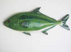 Kona Kampachi Ceramic fish art decorative wall by PiscesCeramics, $124.00